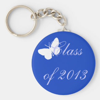 Class of 2013 - Blue Butterfly Basic Round Button Key Ring