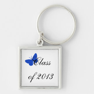 Class of 2013 - Blue Butterfly Silver-Colored Square Key Ring