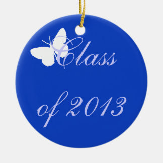 Class of 2013 - Blue Butterfly Round Ceramic Decoration