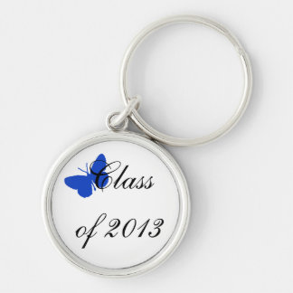 Class of 2013 - Blue Butterfly Silver-Colored Round Key Ring