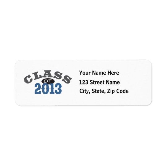 Class Of 2013 Blue Return Address Label