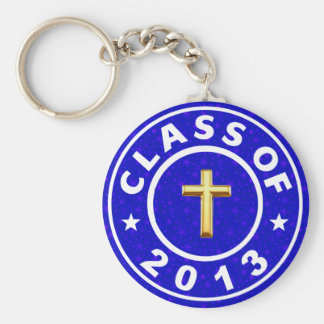 Class Of 2013 Christian  Cross Basic Round Button Key Ring