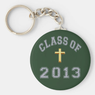 Class Of 2013 Christian Cross - Grey 2 Basic Round Button Key Ring