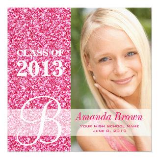 Class of 2013 Grad Announcement Photo Pink Glitter