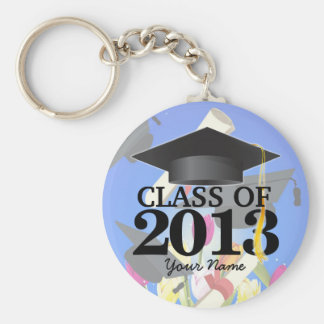 Class of 2013 Graduation Key-Chain blue Basic Round Button Key Ring