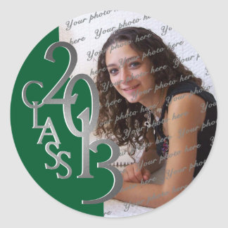 Class of 2013 Green and Silver personalized photo Round Stickers