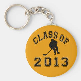Class Of 2013 Hockey - Black 2 D Basic Round Button Key Ring