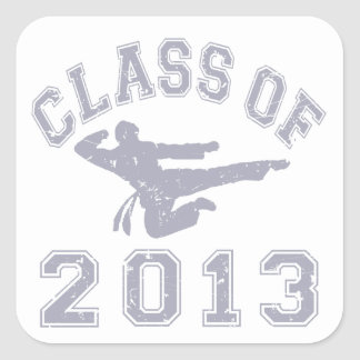Class Of 2013 Martial Art - Grey 2 Square Stickers
