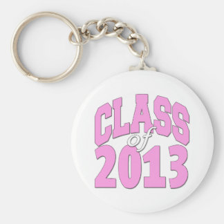 Class of 2013 pink basic round button key ring