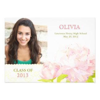 Class of 2013 Pink Peony Girl Photo Graduation Custom Invitation