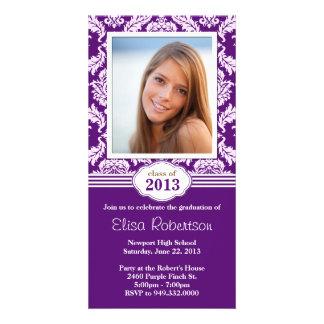 Class of 2013 Purple Damask Graduation Photo Greeting Card
