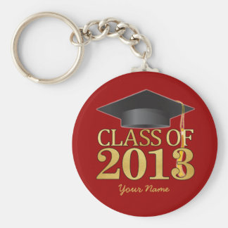 Class of 2013 Red & Gold Graduation Basic Round Button Key Ring