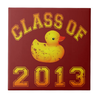 Class Of 2013 Rubber Duckie - Yellow/Orange Small Square Tile