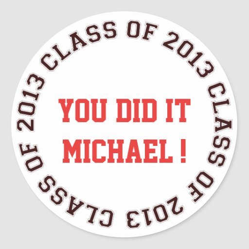 Class of 2013 school college graduation gift tag round stickers