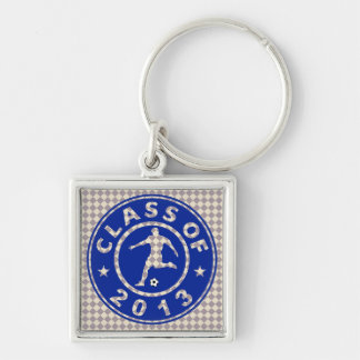 Class Of 2013 Soccer Silver-Colored Square Key Ring