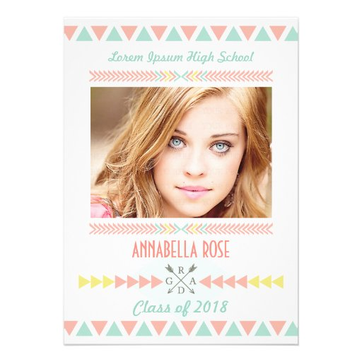Class of 2014 Aztec Tribal Photo Graduation Party Personalized Invite
