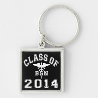 Class Of 2014 BSN Silver-Colored Square Key Ring