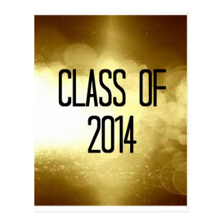 class of 2014 gold background postcard