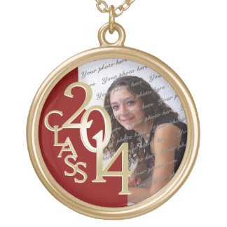 Class of 2014 Grad Photo Red and Gold Round Pendant Necklace