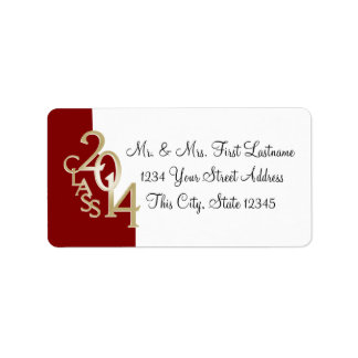 Class of 2014 Graduation Red Gold Address Label