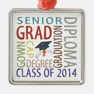 Class of 2014 Graduation Silver-Colored Square Decoration