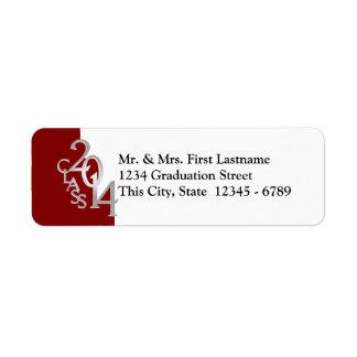 Class of 2014 Graduation Silver Red Return Address Label