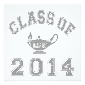 "Class Of 2014 LPN - Grey 2 5.25"" Square Invitation Card"