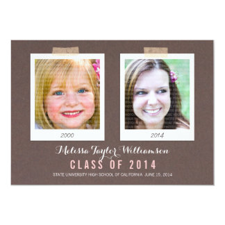Class of 2014 Now and Then Graduation Photo Card