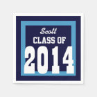 Class of 2014 or Any Year Graduation V01 BLUE Disposable Serviette