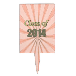 Class of 2014 Peach Sunburst and Gold Words Cake Toppers