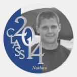 Class of 2014 Royal Blue Grad photo Round Sticker