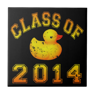 Class Of 2014 Rubber Duckie - Orange Small Square Tile