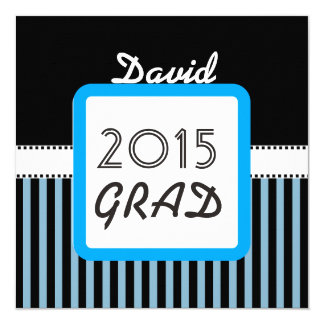 Class of 2015 ANY YEAR Custom Name Blue Stripes A4 13 Cm X 13 Cm Square Invitation Card