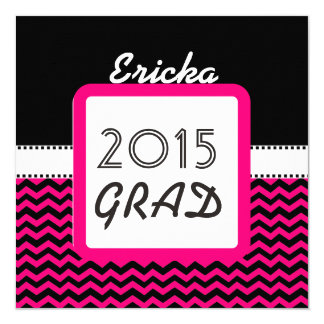 Class of 2015 ANY YEAR Custom Name Pink Chevrons 6 13 Cm X 13 Cm Square Invitation Card