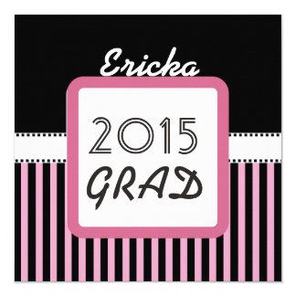 Class of 2015 ANY YEAR Custom Name Pink Stripes A5 13 Cm X 13 Cm Square Invitation Card