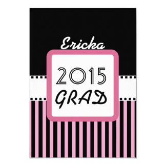 Class of 2015 ANY YEAR Custom Name Pink Stripes M3 13 Cm X 18 Cm Invitation Card