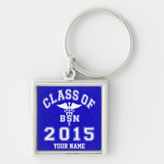Class Of 2015 BSN Silver-Colored Square Key Ring