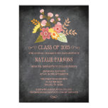 Class of 2015 chalkboard floral graduation party 13 cm x 18 cm invitation card