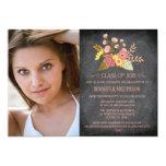 Class of 2015 floral chalkboard photo graduation invitations