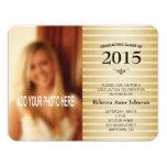 Class of 2015, Gold Stripes Photo Graduation 11 Cm X 14 Cm Invitation Card