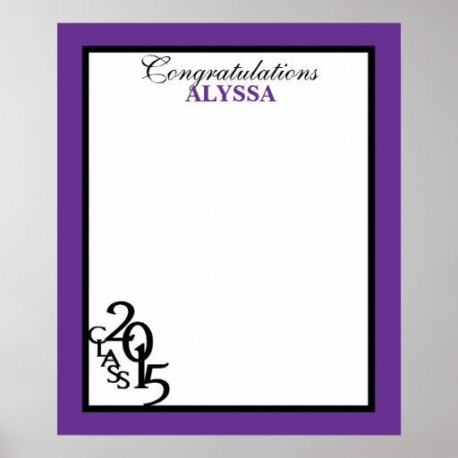 Class of 2015 Graduation Autograph Keepsake Purple Poster