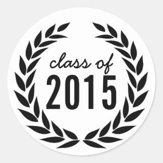Class of 2015 Laurel Wreath Graduation Classic Round Sticker