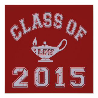 "Class Of 2015 LPN 5.25"" Square Invitation Card"