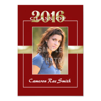 Class of 2015 Maroon & Gold Graduation Party 11 Cm X 16 Cm Invitation Card