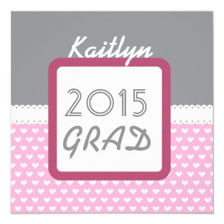 Class of 2015 or ANY YEAR Custom Name Gray Pink A1 13 Cm X 13 Cm Square Invitation Card