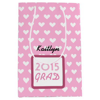 Class of 2015 or ANY YEAR Custom Name Gray Pink A1 Medium Gift Bag