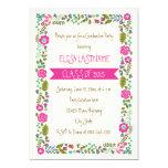 Class of 2015 pink & aqua floral border graduation 13 cm x 18 cm invitation card