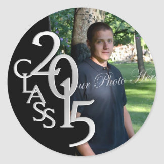 Class of 2015 Silver Black personalized photo Round Sticker