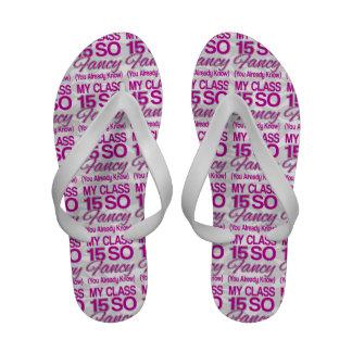 Class of 2015 So Fancy Pink White Senior Girls Flip-Flops