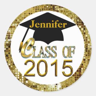 Class Of 2015 Sparkling Gold Graduation Seals